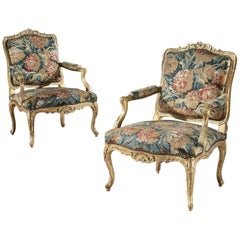 Pair of Louis XV Carved Armchairs with 18th Century Verdure Tapestry