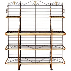 Massive Vintage French Iron and Brass Baker's Rack