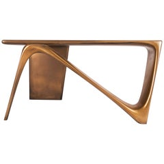 Astra Desk Contemporary, Gold Finish,  L Shape, By Amorph