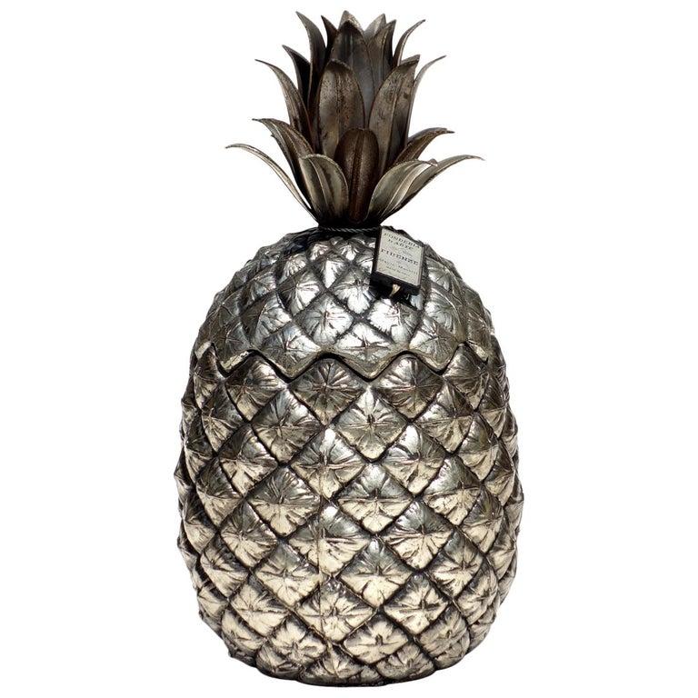 1970s by Mauro Manetti Italian Design Metal Pineapple Ice Bucket