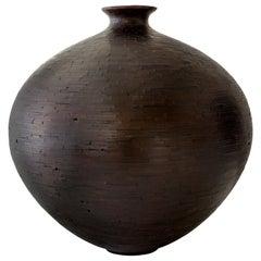 Contemporary American Shou Sugi Ban Wooden Round Vase, Alaskan Cedar in Stock