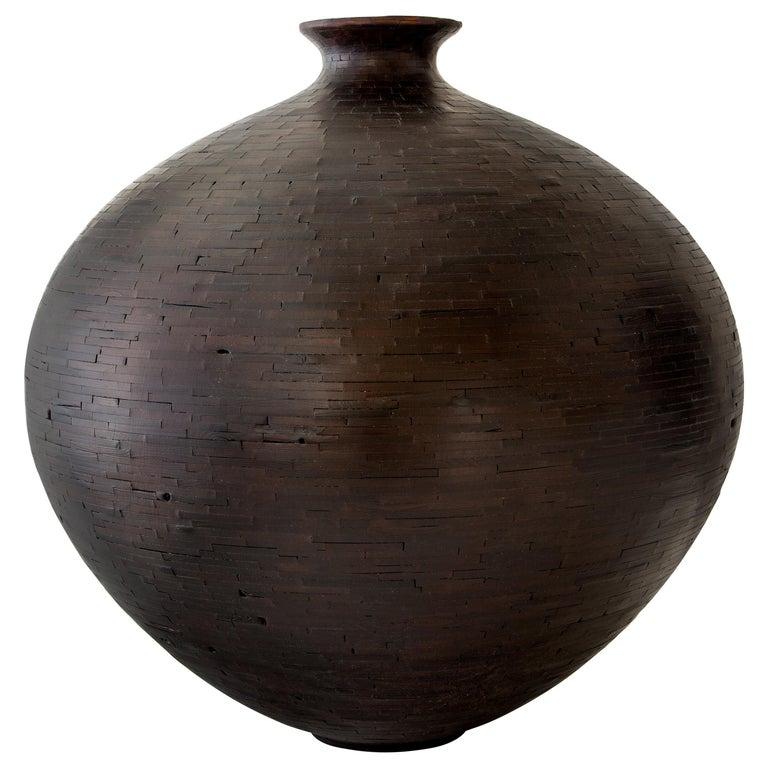Contemporary American Shou Sugi Ban Wooden Round Vase