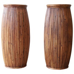 Baker Furniture Milling Road Bamboo Plant Stands, Pair