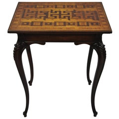 Antique Dutch Marquetry Inlaid French Louis XV Style Carved Walnut Side Table