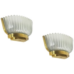 Pair of Italian Midcentury Glass and Brass Sconces