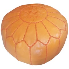 Moroccan Leather Pouf or Ottoman, Pale Orange