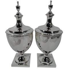Pair of Antique Tiffany Classical Federal Sterling Silver Covered Urns