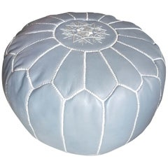 Moroccan Leather Pouf or Ottoman, Sky Gray