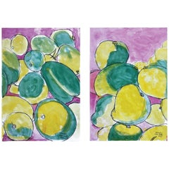Mangos (B2), Watercolor and Ink on Archival Paper, Diptych, 2018