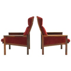 Pair of High Back Lounge Chairs by Illum Wikkelso, Rosewood and Red Velvet