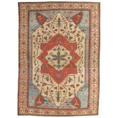 Antique Persian Serapi Carpet, Handmade, Oriental Rug, Rust, Ivory, Light Blue