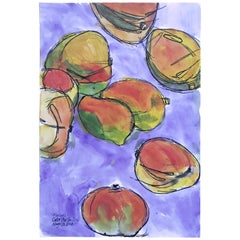 Mangos, Watercolor and Ink on Archival Paper, 2018