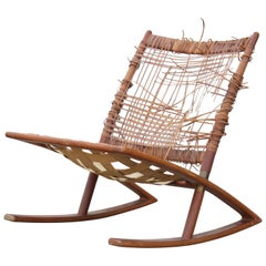 Modern Fredrik Kayser Teak Cane and Leather Strapping Rocking Chair