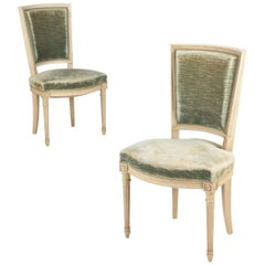 French Louis XVI Style Pair of Painted Vintage Side Chairs