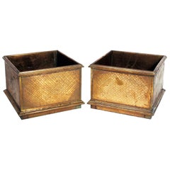 Pair of Large Scale Brass Planters by Rodolfo Dubarry