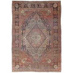 Antique Persian Mohtasham Kashan Carpet, Traditional, Ivory, Blue, Green, Reds