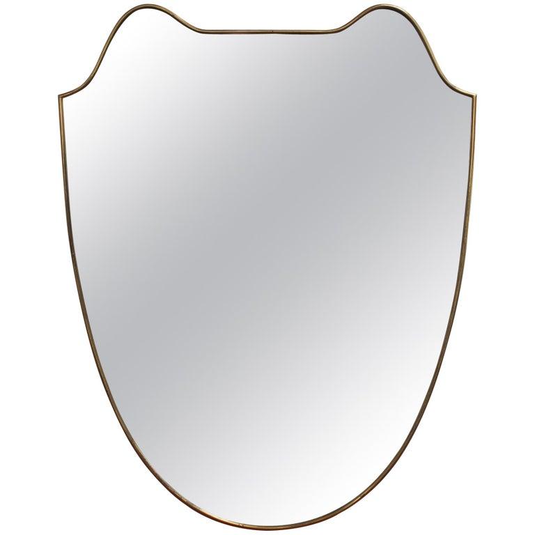 Midcentury Italian Wall Mirror with Brass Frame, circa 1950s