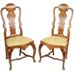 Pair of 18th Century Dutch Marquetry Side Chairs