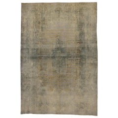 Distressed Vintage Turkish Rug with Modern Industrial Brick Tile Pattern