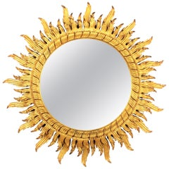 Large Scale 20th Century Spanish Double Layered Carved Giltwood Sunburst Mirror