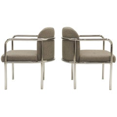 Pair of Side Chairs by Milo Baughman, Rounded Tubular Chrome Frames, Excellent