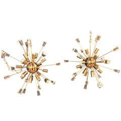 Pair of Brass 18 Light Sputnik Chandeliers in Mid-Century Modern Style