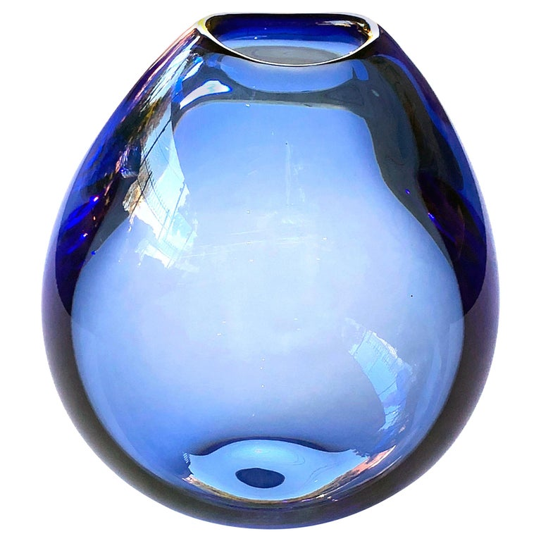 Good Quality Danish 1960s Blue Glass Teardrop Vase By Per Lutken For
