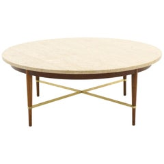 Paul McCobb Round Coffee Table, Travertine, Walnut, and Brass Cross Stretchers