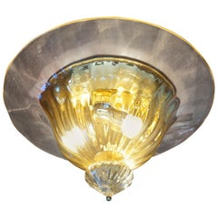 Rare and Large 1980s Mouthblown Three-Light Murano Flush Mount with Gold Flakes