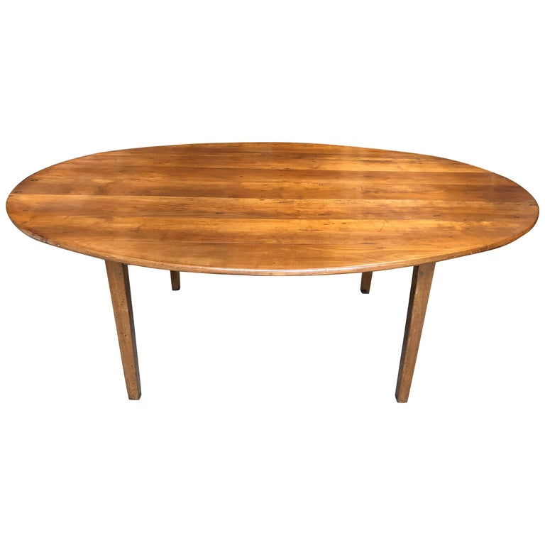 Large Oval Farm Table Cherrywood French Th Century At Stdibs - Oval farm table
