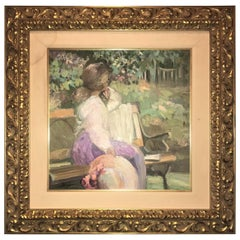 Impressionist Decorative Water Color in a Fine Gilt Frame Signed