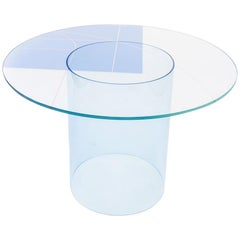 Court 1 Round Dining Table by Pieces, Modern Printed Glass Top with Acrylic Base