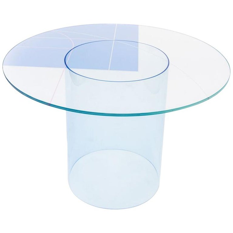 Court 1 Round Dining Table By Pieces Modern Printed Gl Top With Acrylic Base For