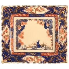 "Japanese Brilliant Blue ""Bird of Paradise"" Hand-Painted Antique Platter"
