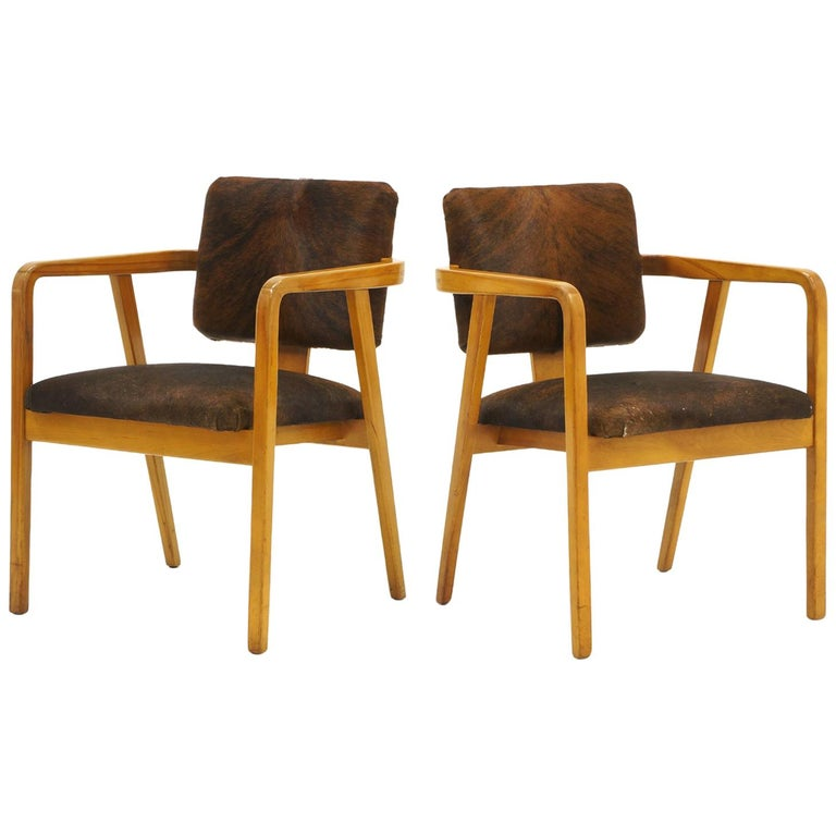 Pair of George Nelson Armchairs in Cowhide Upholstery