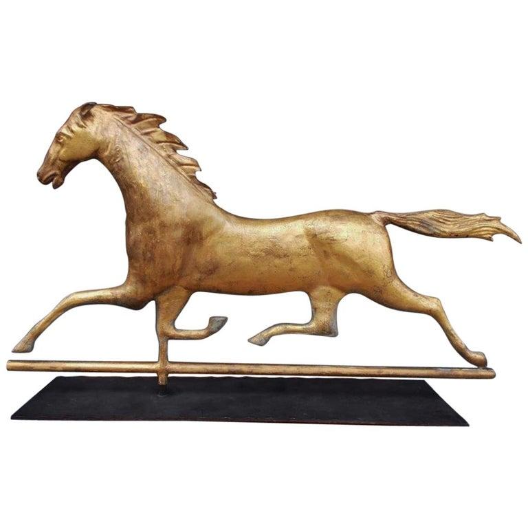 American Gilt Copper Full Bodied Running Horse Weathervane, J. W. Fiske. C. 1880