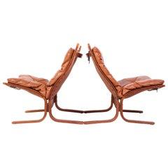 """Pair of Ingmar Relling """"Siesta"""" Tan Leather Chairs by Westnofa"""