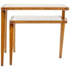 Folding Side Table, Wood and Glass, Czechoslovakia, 1960s