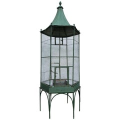 Large 1920s Painted Metal Garden Birdcage