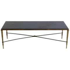 Neoclassical Marble and Brass Coffee Table