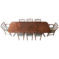Drexel Heritage Banded Mahogany Pedestal Extension Dining Table and Eight Chairs