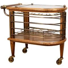 Vintage Walnut and Bronze Bar Cart