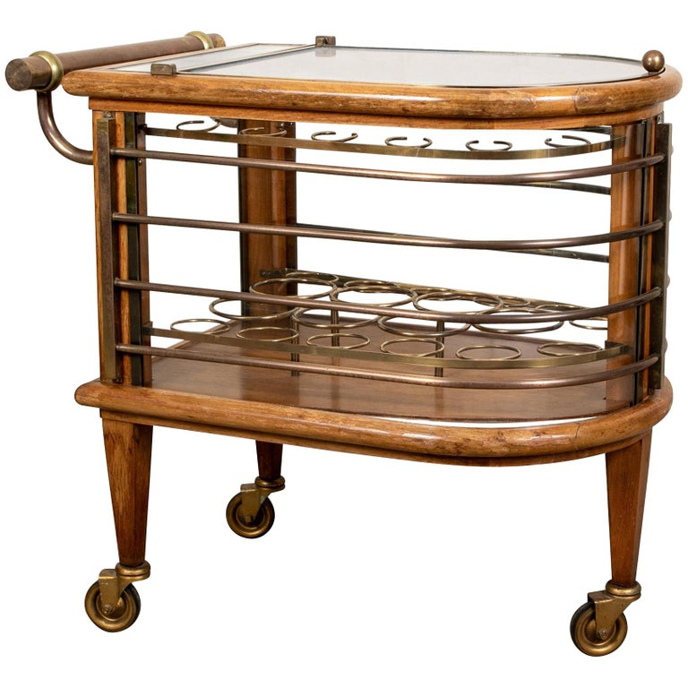 Vintage Walnut and Bronze Bar Cart