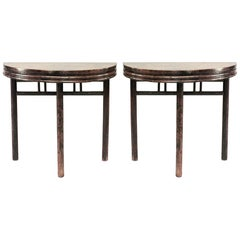 Pair of Asian Chinese Style Teak Half Round Three-Legged Console Tables