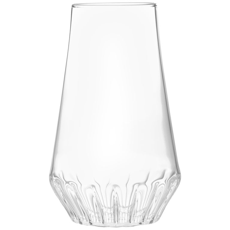 Contemporary Czech Glass Clear Modern Medium Vase Handcrafted, in Stock
