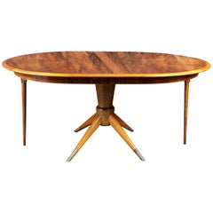 Midcentury Scandinavian Inlaid Wood Dining Table by David Rosen for Nordiska Ko