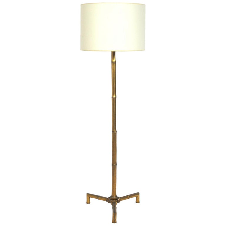Elegant Brass Faux Bamboo Floor Lamp