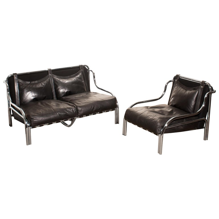 1960s, Leather and Chrome Lounge Sofa and Chair by Gae Aulenti for Poltronova