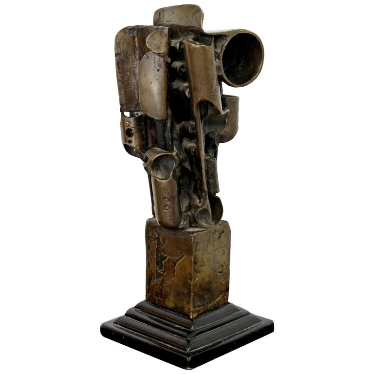 Mid-Century Modern Brutalist Abstract Bronze Table Sculpture on Wood Base, 1970s