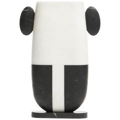 Vase in White and Black Marbles by Matteo Cibic, Made in Italy